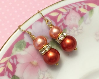 Orange Pearl Earrings, Orange Rhinestone Earrings, Orange Pearl Drop Earrings, Short Dangle Earrings, Orange Earrings, KreatedByKelly (DE1)