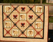 Applique Sheep Quilt - tans, browns, reds