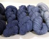Handdyed Merino/Silk/Stellina Lace Yarn - Gunmetal Blues Gradient Palette -  blue, navy, powder blue, sky blue
