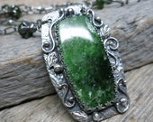 Spring Equinox leaf and vine necklace ... recycled fine silver bezel / sculpted leaves and vines / chrome tremolite