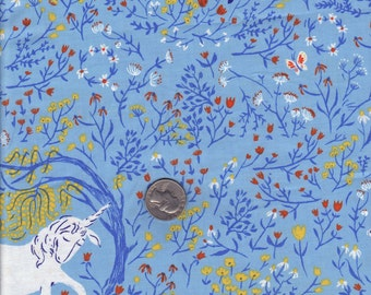 Heather Ross Far Far Away - Blue Unicorns -  cotton quilt fabric - half yard