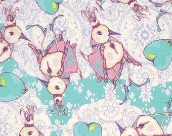 Tina Givens Dancing King in Aqua - Feather Flock - Free Spirit cotton quilt fabric - fat quarter