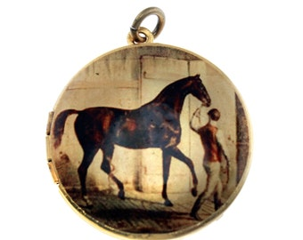Photo Locket, Image Locket, Art Locket, Picture Locket, Brass Locket - Horse out of the Barn