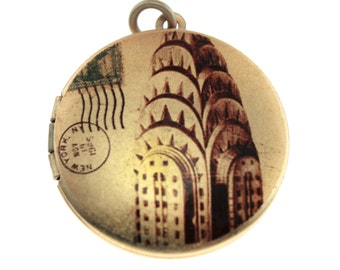 Photo Locket, Image Locket, Art Locket, Picture Locket, Brass Locket - Chrysler Building Ephemera