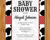 Cow Baby Shower Calf Invitation Black White Red Pattern Invite Be Not Moved Church Event Printable 5x7 Digital JPG (397)