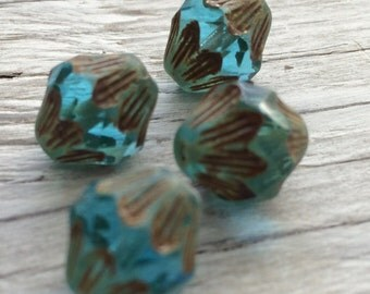 Czech glass beads - baroque bicone beads aqua picasso 13x11mm pack of 4