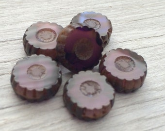 Czech glass daisy coin beads purple picasso 13mm pack of 6 (C01)