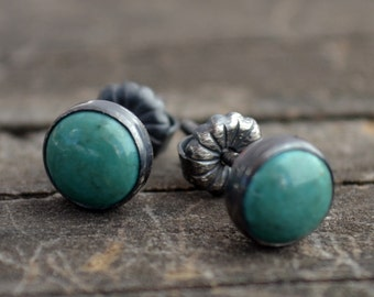 chinese turquoise and sterling silver stud earrings