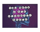 Postcard: You Have a Big Gigantic Brain- Hilarious Card, Weird Postcards, Art Postcards, Postcrossing, Boyfriend Card, Girlfriend Card