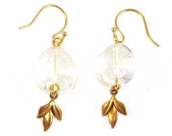 SALE Clear Quartz Drop Earrings, Crystal Earrings, Crystal Drop Earrings, Gemstone Drop Earrings, Crystal Gemstone Earrings, Clear Gemstones