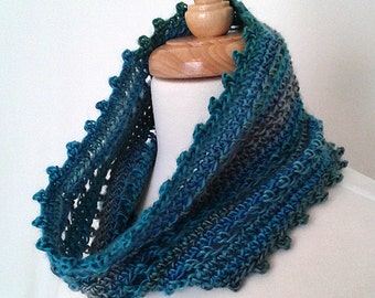 Crochet  Neck Warmer Mini Cowl Infinity Scarf with Picot Edge - Ready to Ship