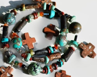 Urban Primitive Turquoise Necklace Handmade Ceramic Crosses with Imbedded Street Glass Symbolic Gemstones Bone Statement Jewelry