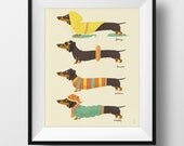 Fine Art Dachshund Print - Seasonal Weenies Illustration