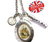 As Featured in The Wonder Room Selfridges London The Original Alice in Wonderland I am Late White Rabbit Charm Locket Necklace by Hoolala