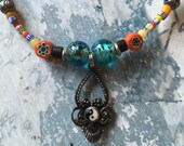 Yin/Yang Symbol Necklace- African Christmas Beads, Millefiori Glass Beads- Multicolored Beads