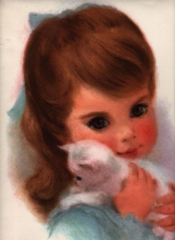 "Little Girl with White Kitten Print Big Eyes - 11"" x 14"" Poster - Vintage"