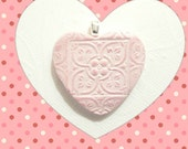 Handstamped Heart Pendant Necklace or Pin Brooch, Valentine's Day Gift, Wedding Bouquet Charm, Light Pink Jewelry, handmade polymer clay