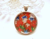 Floral Origami Paper Necklace, Red Green Blue White, Every Day Jewelry, Silver Plated Ball Chain Necklace