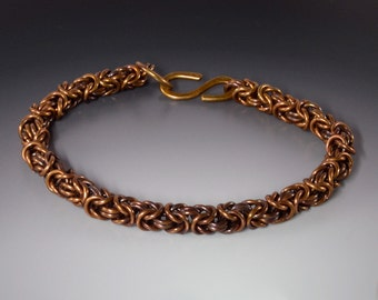 Byzantine Chainmaille Bracelet in Bronze Large Size with Patina Handmade