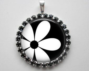 Mod Flower in Rhinestones - 1 Inch Black Rhinestone Bezel Pendant Necklace