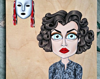 Audrey Horne Twin Peaks-Big Eye Pop Surrealism Original Acrylic Painting 9x12-By Alexandria Sandlin Cherrybones
