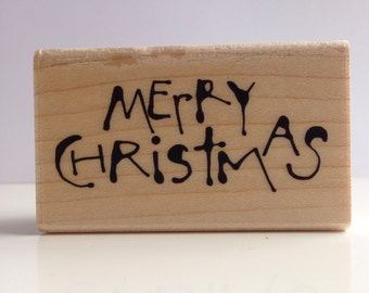 hand inked MERRY CHRISTMAS rubber stamp