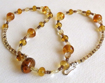 Citrine Necklace with Andalusite, Lampwork Beads and Sterling Silver, Smokeylady54