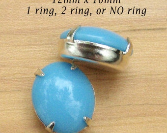 Aqua Blue Cabochon, Vintage Glass Beads, 12mm x 10mm, Oval, Set Stones, Silver Plated Brass Settings, One or Two Rings, One Pair