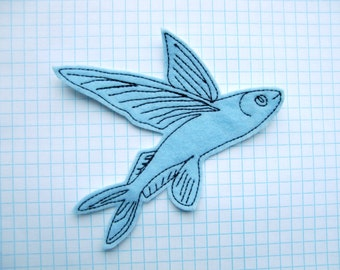 Flying Fish Iron On Patch Applique in baby blue felt - wings - fish patch - felt patches - patches for jackets - patches for jeans