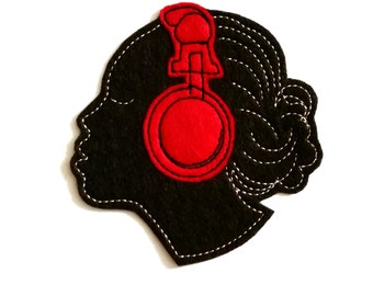 Lady With Red Headphones Applique Iron On Version, dj equipment, music patch, iron on patch, patches, felt patches, black women