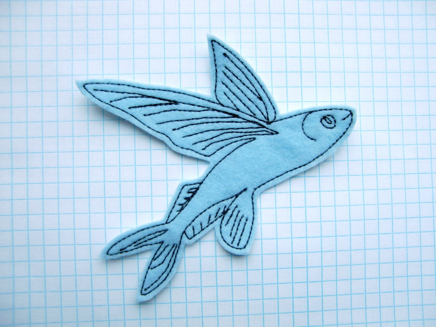 Flying fish iron on patch applique in baby blue felt for Wings fish