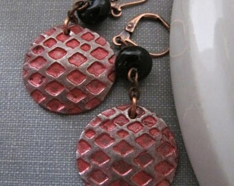 Copper Earrings, Red Earrings, Embossed Copper, Red and Black, Red Dragonscale, Copper Jewelry, Industrial Design, Lampwork Glass