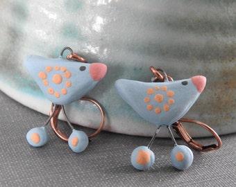 Ceramic Earrings, Copper Earrings, Bird Earrings, Clay Earrings, Blue Birds, Pale Blue, Ceramic Charms