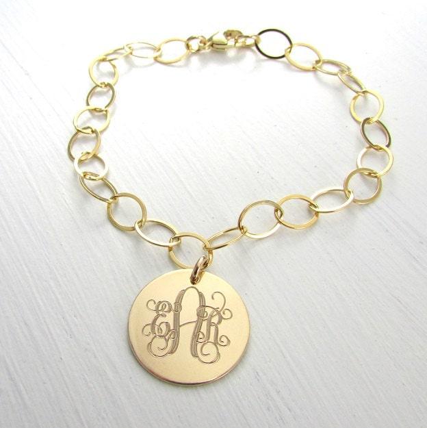 Engraved Charm Bracelet Gold Monogram Jewelry 14K Gold