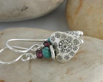 SWEET HEART Turquoise GARNET Sterling Hill Tribe Silver Dangle  Drop Earrings // Handcrafted Jewelry // luluglitterbug
