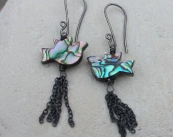 ABALONE earrings, Abalone BIRD earrings, sterling silver tassel earrings, tassle, angryhairjewelry