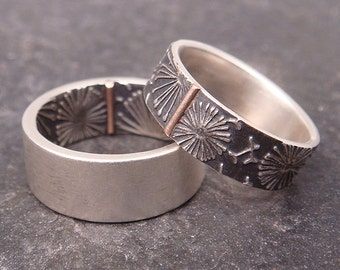 Wedding Band Set - Sterling Silver Rings with 14k Rose Gold Tab - Opposites Attract Dandelion Pattern - Handmade in Seattle