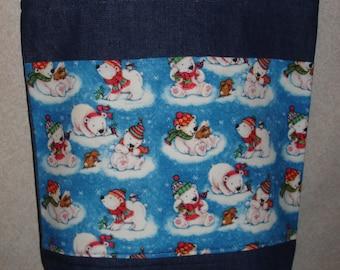 New Large Handmade Whimsical Polar Bears Holiday Winter Denim Tote Bag