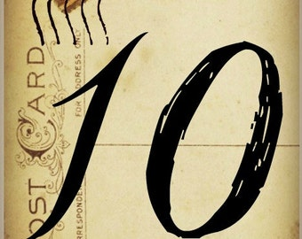 10 WEDDING TABLE NUMBERS 1-10 on Aged  Paper