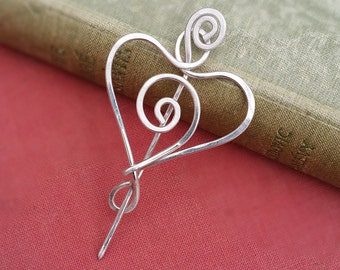 Little Spiral Love Heart Sterling Silver Shawl Pin, Mother's Day Gift Scarf Pin, Sweater Brooch, Fastener, Closure, Knitting, Women. Metal