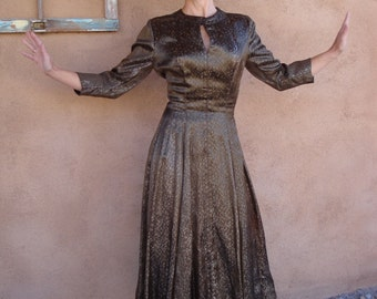 Vintage 1950s Dress Silk Brocade Gold and Copper 50s Dress US4 B34 W26 2014511