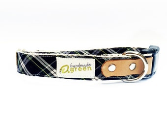 Glendale Plaid Hemp Dog Collar. Adjustable. Small Medium Large.