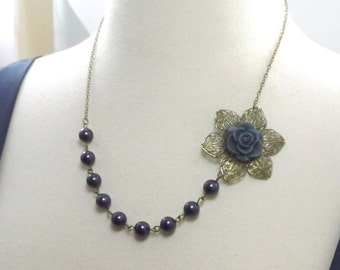 Navy Blue Pearl Flower Bridesmaids Wedding Necklace