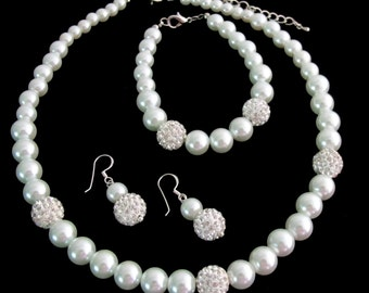 Ivory Pearl Rhinestones Necklace,Wedding Bridal Jewelry, Wedding Jewelry Set Bridesmaid Rhinestones Jewelry Set Free Shipping In USA