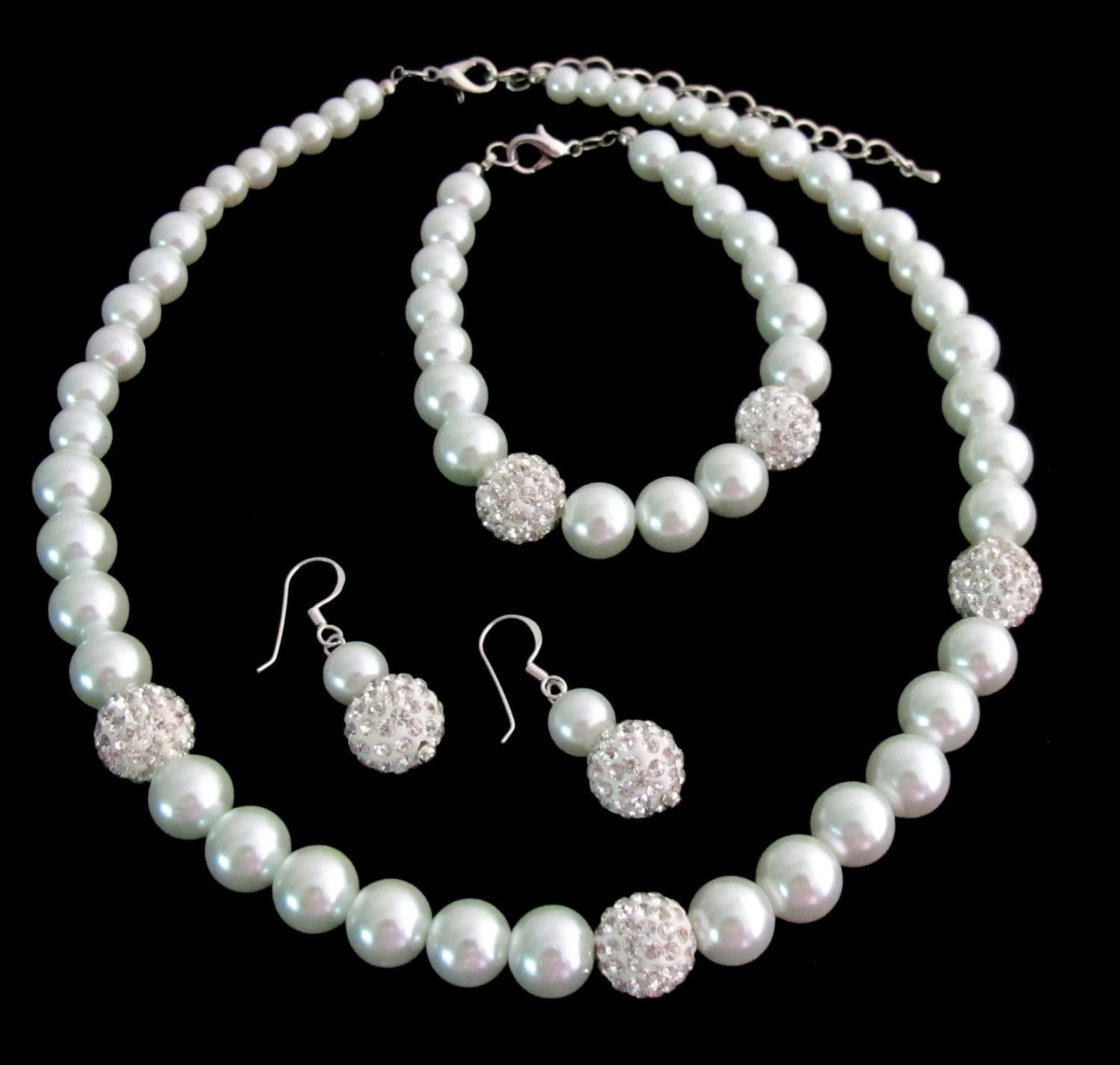 Ivory Pearl Rhinestones NecklaceWedding Bridal Jewelry Wedding Jewelry Set Bridesmaid
