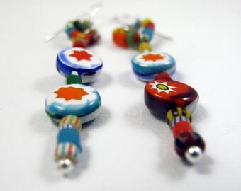 Beaded Circus Earrings - Sterling Silver and Multi Color Glass Bead Earrings