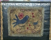 Primitive Punch Needle Pattern Needlepunch Birds Online Video DIY Tutorial Online Class PDF Epattern Download  Hickety PIckety