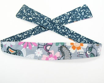 Tie Headband Hair Scarf - Reversible - Woodland Creatures and Navy Lace