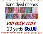 Hand Dyed Ribbon Variety Mix Assortment of 10 Yards