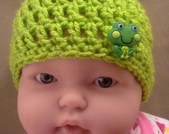 Crochet Hat 0-3 Months Keylime Green with Frog Button